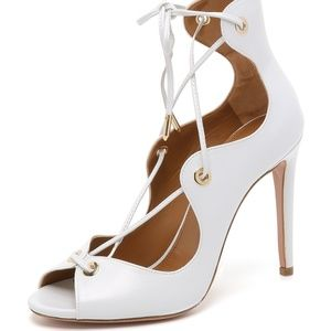 Aquazzura Tango High Heels Strappy Sandals White 5